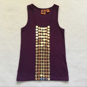 Tory Burch Purple Gold Embellished Sequin Tank S